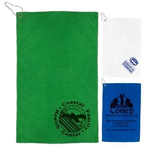 """The Iron"" 300 GSM Heavy Duty Microfiber Golf Towel w/Metal Grommet & Clip"